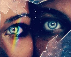 freetoedit rainbow eyes blue broken