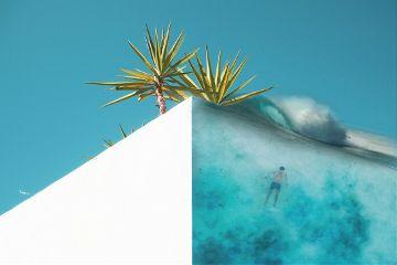 freetoedit building palms bluesky swimmer