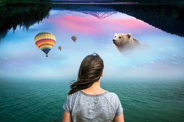 freetoedit fantasy woman mountain balloon