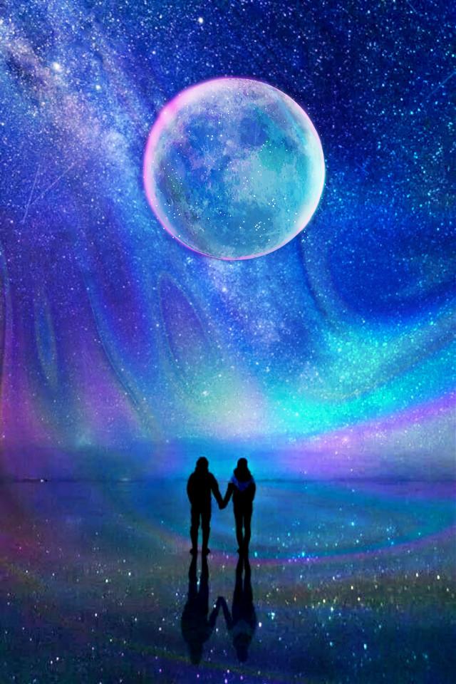 YOU & ME #doubleexposure #holographicbackgrounds #moon #couple
