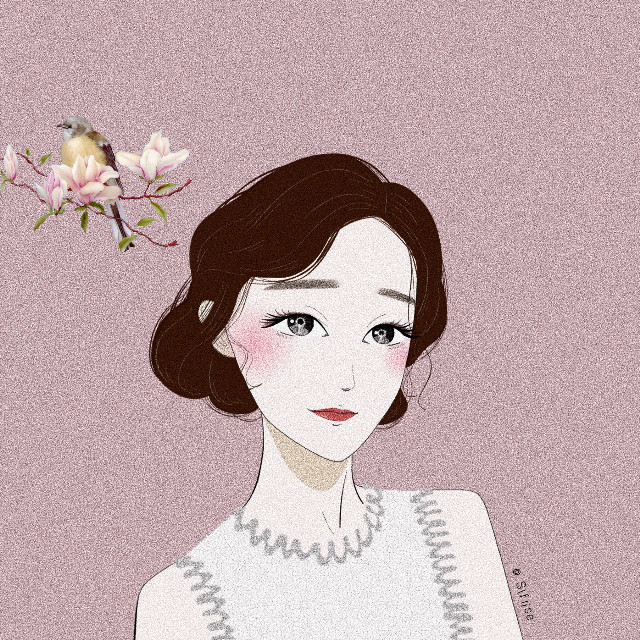 #freetoedit #pink #style #girl #Chinese #nature #flowers #beauty #illustration #painting #portrait