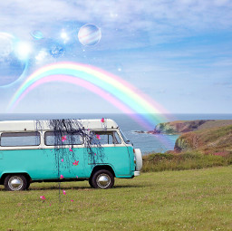 freetoedit rainbow space art car