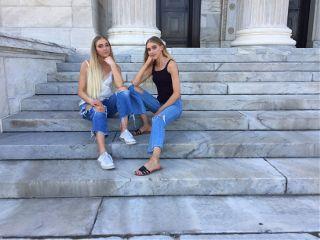freetoedit twins stairs blonde sitting