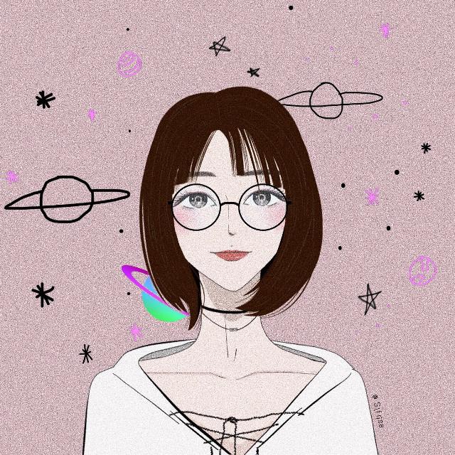 #freetoedit #girl #stars #shorthair #cute #painting #portrait #illustration #art #sweet