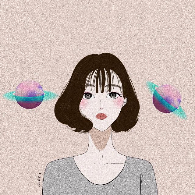 #freetoedit #girl #lips #shorthair #sweet #cute #illustration #painting #portrait #art