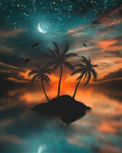 sunset sky stars island trees day freetoedit