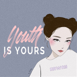 freetoedit youth kawaii cute sweet babyblue pink girl cool collection hairstyle illustration painting portrait art