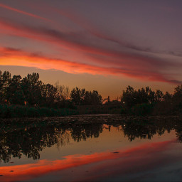 lake sunset mirror color sky