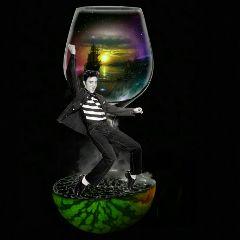 elvisstickerremix elvis wineglass water watermelon freetoedit