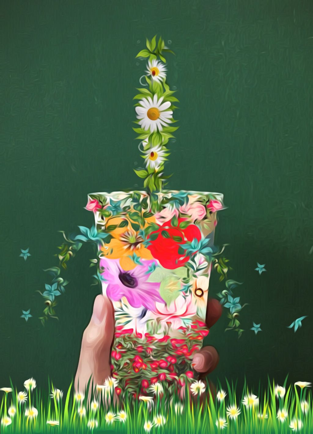 #freetoedit #oilpainting #effects #flowers #floral #summer #remixed #myremix #dailyremix #smooth #cup #straw #picsart #stickers #editedbyme #remixit