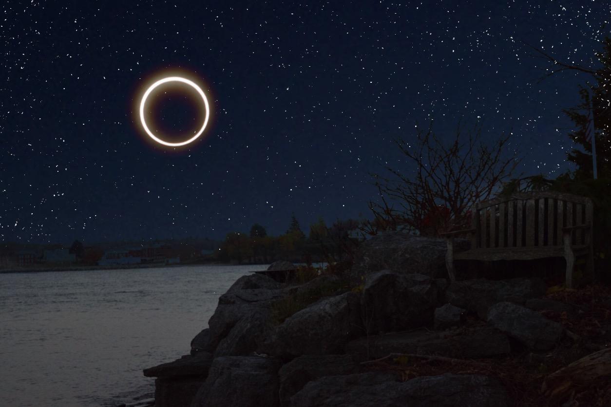 #freetoedit #eclipse2017 #sun #moon #eclipse #stars #night #editedbyme #water #peaceful #madewithpicsart #art