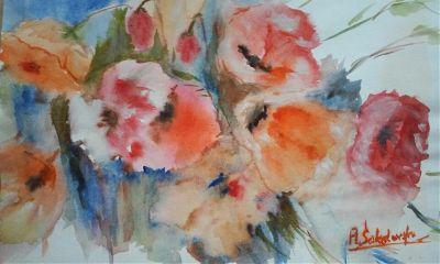 freetoedit watercolor handmade flowers poppies