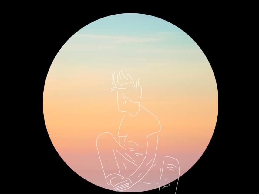#freetoedit #circle #sunset #sketched #boy @freetoedit #dailyremix