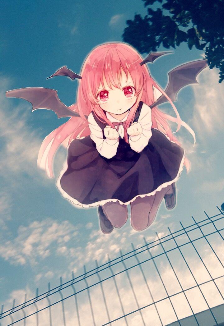 Manga Démon Anime Demon Girl Fille Red Hair Cheveux Rou