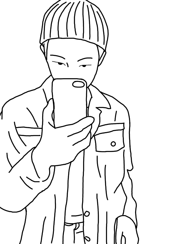 Kim Namjoon Rapmon Rapmonster Bts Draw Simple Black Sel