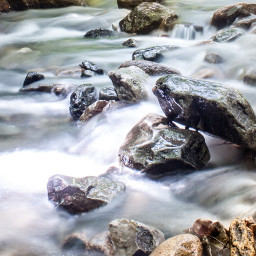longexposure water rock rocks river