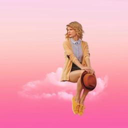 girl sitting cloud pink freetoedit