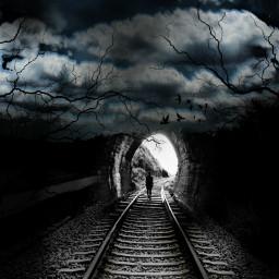 vipshoutout myedit dark tunnel traintracks freetoedit
