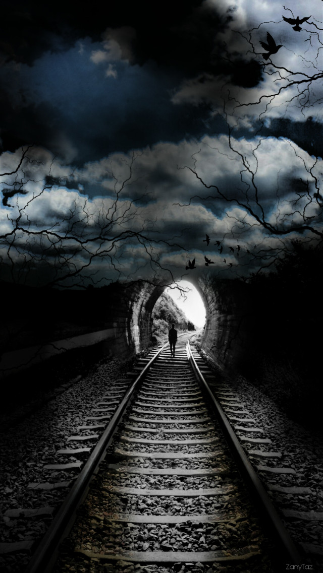 Thank you @pa and everyone for your support,  comments and love!!💋  #vipshoutout @me_and_my_world #myedit #dark theme #tunnel #traintracks #endofthetunnel #sky #tracks #darkness