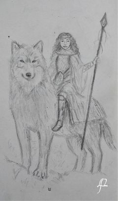 wolf_with_a_girl mydrawing warrior