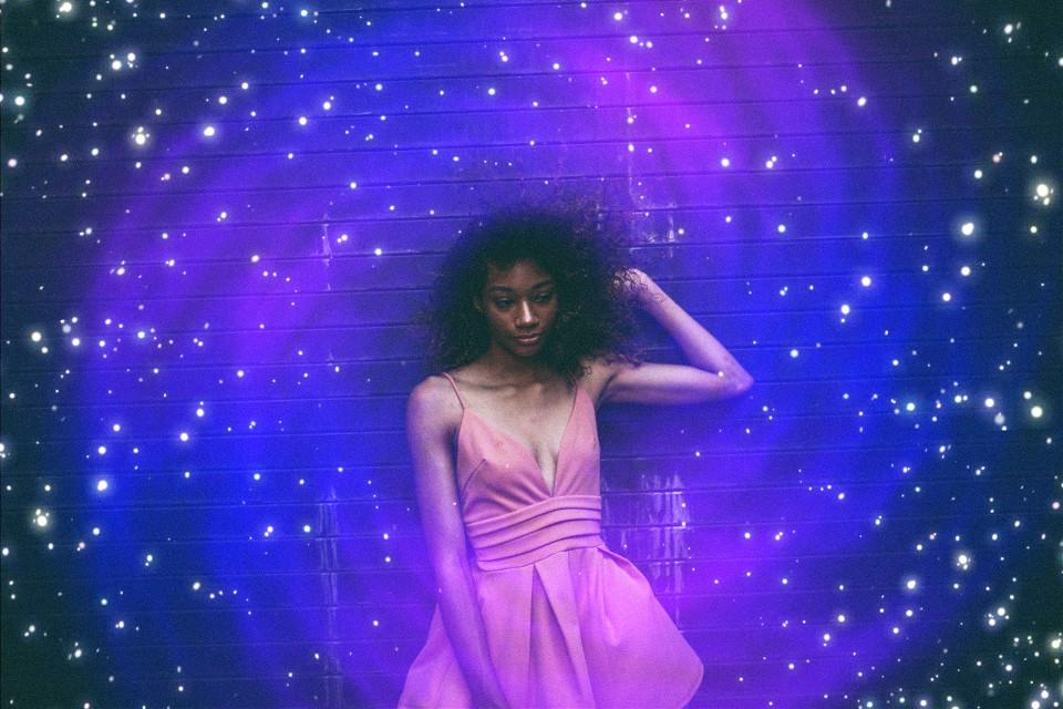 #girl #woman #photography #model #wall #pose #galaxy #portal #stars #lights #orbs #editing #colorful #pa #picsart Portal found on Google.