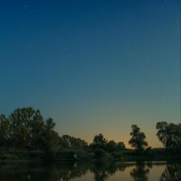 nature lake night stars trees