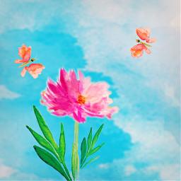 freetoedit watercolor flower butterflies pinkflower