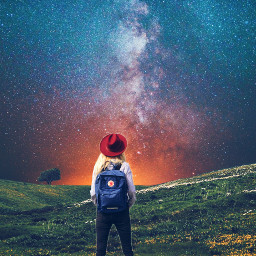 freetoedit galaxy girl surreal stars