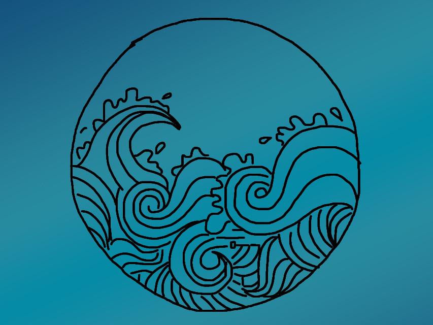 #freetoedit #doodles #wave #sketched #blue