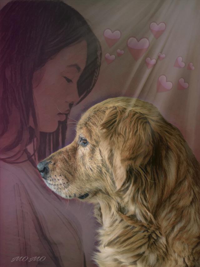 #artisticselfie #madewithpicsart #womanportrait #dog