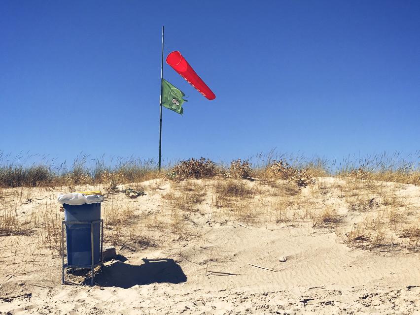 #atthebeach #dunes #wildplants #garbagecontainer #windsock and #flag  #windy #brightsunnylightandshadows #bluesky #nature #minimal #keepitsimple #beachphotography