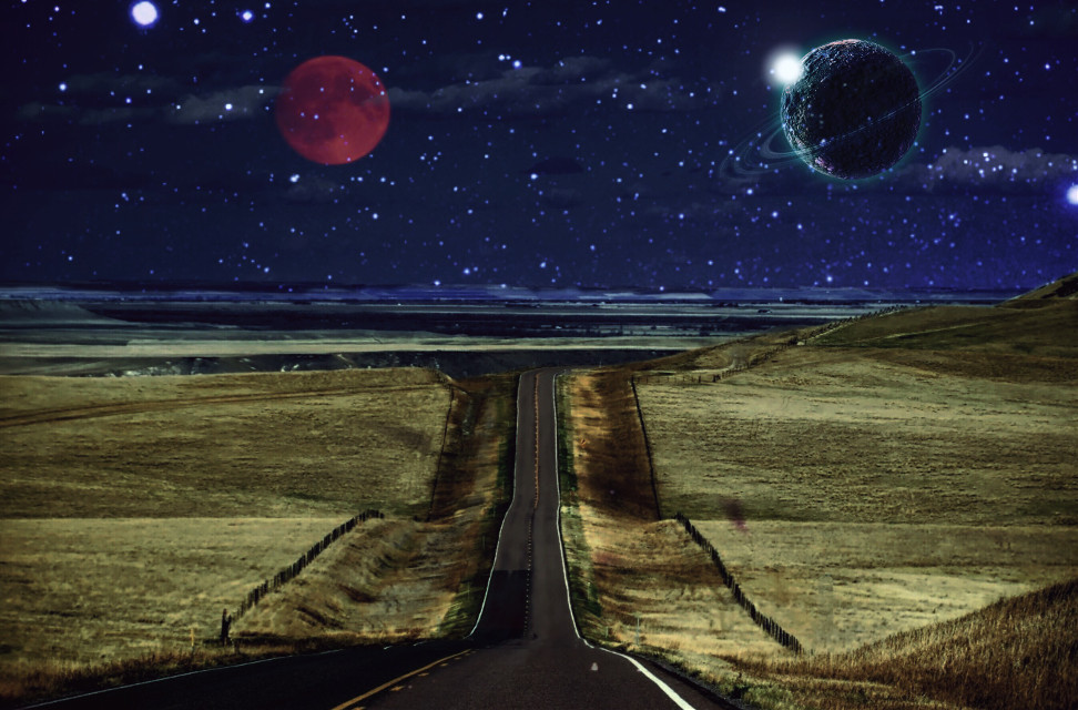 #freetoedit #space #moon #planets #orangemoon #seafoameffect #night #road #stars #madewithpicsart