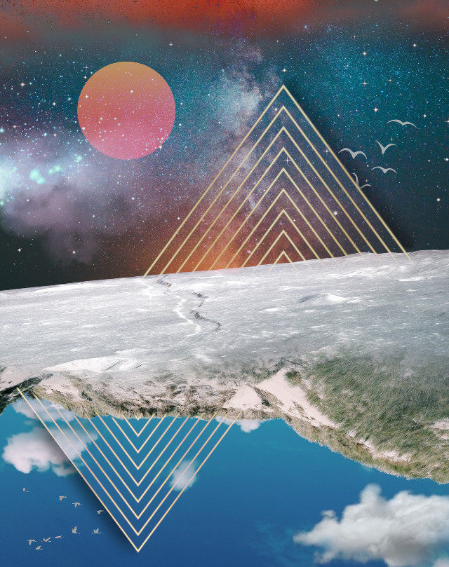 Hope everyone is happy & well! Will have more time for PA once I get to Cali 😊 #freetoedit #space #galaxy #universe #moon #sky #stars #upsidedown #triangles #geometric #edited #remixed #myedit #madewithpicsart