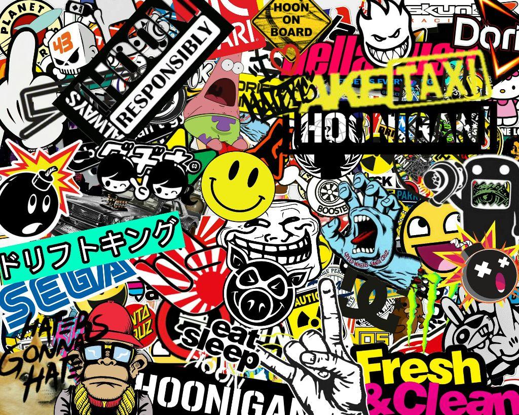 Hoonigan bomb sticker stickers stickerbomb cars cool wallpaper