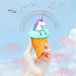freetoedit unicorn icecream icecreamunicorn rainbow