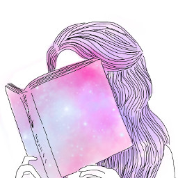 freetoedit girl book pastel galaxy