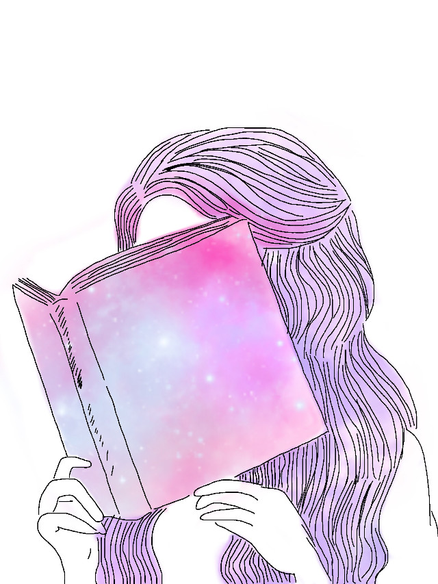 #freetoedit #girl #book #pastel #galaxy #hair #hands #sketched