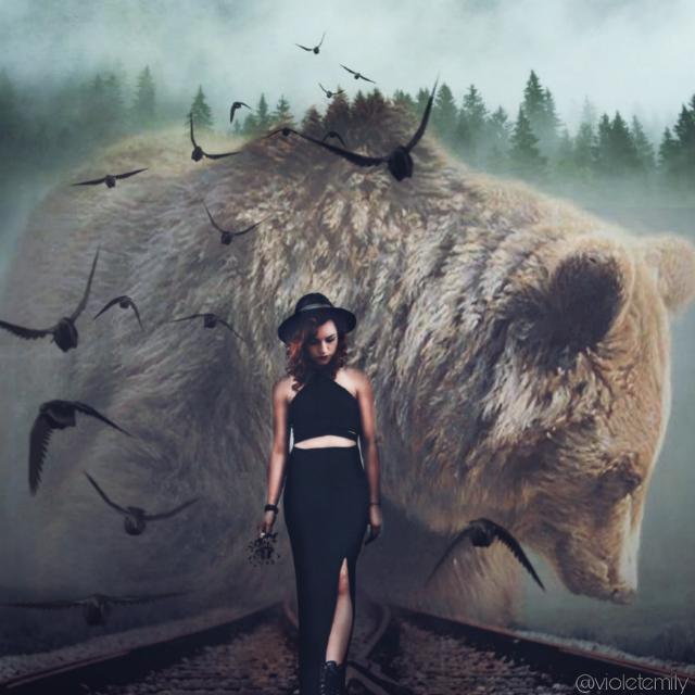 Instagram➡vio_emy   #bear #girl #forest #birds