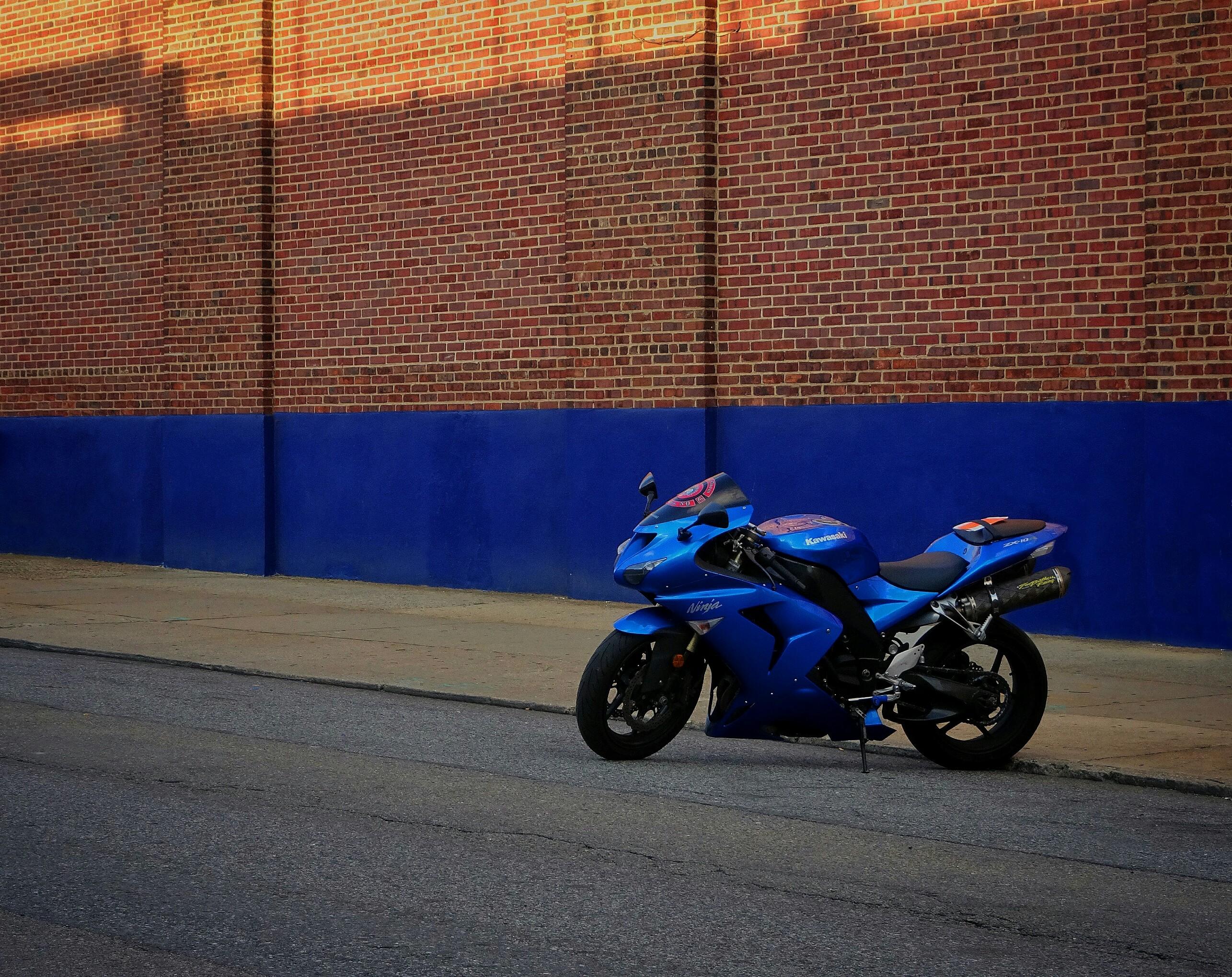 Motorbike Wall Stickers Ninja Kawasaki Blue Motocycle Motorbike Royalblue Wall