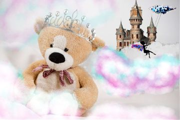 freetoedit teddybear fairytail crown castle
