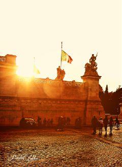 rome sunset sunshine flags architecture