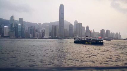 hongkong river town boat aftersunset