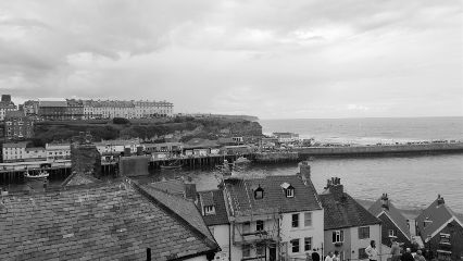 whitby blackandwhite sea architecture buildings