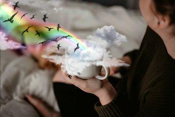 freetoedit sky arcoiris🌈 coffee bed