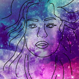 freetoedit galaxy girl hair sketched