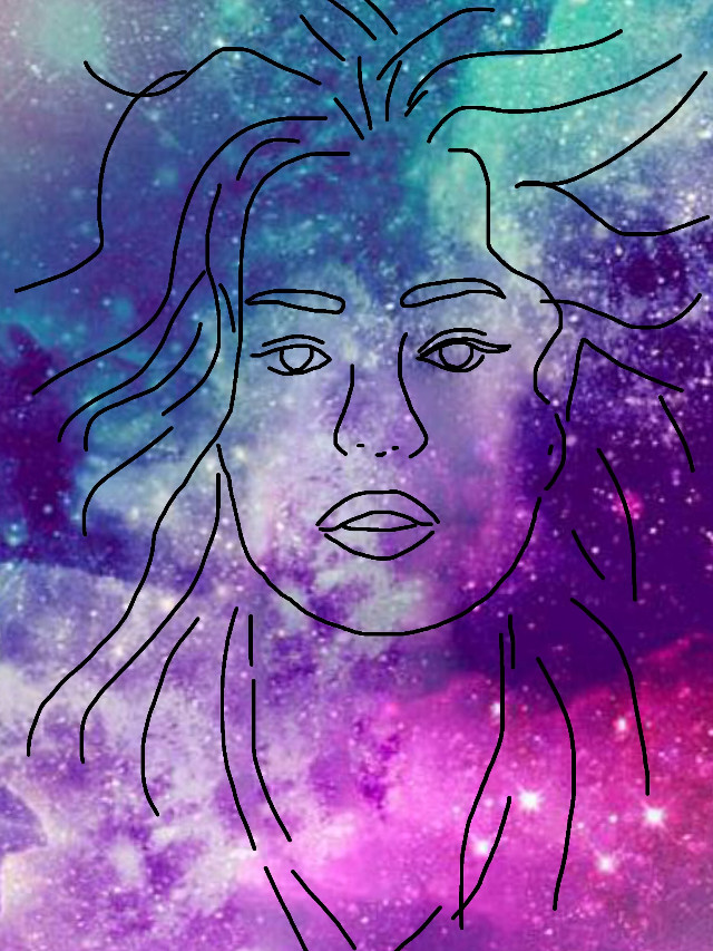 #freetoedit #galaxy #girl #hair #sketched
