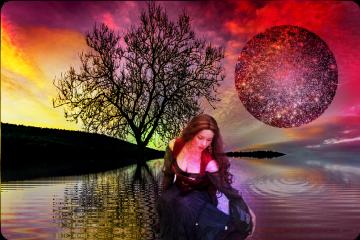 dailystickerremix starrystickerremix woman landscape water freetoedit