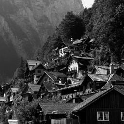 blackandwhite landscape mountains village hallstatt