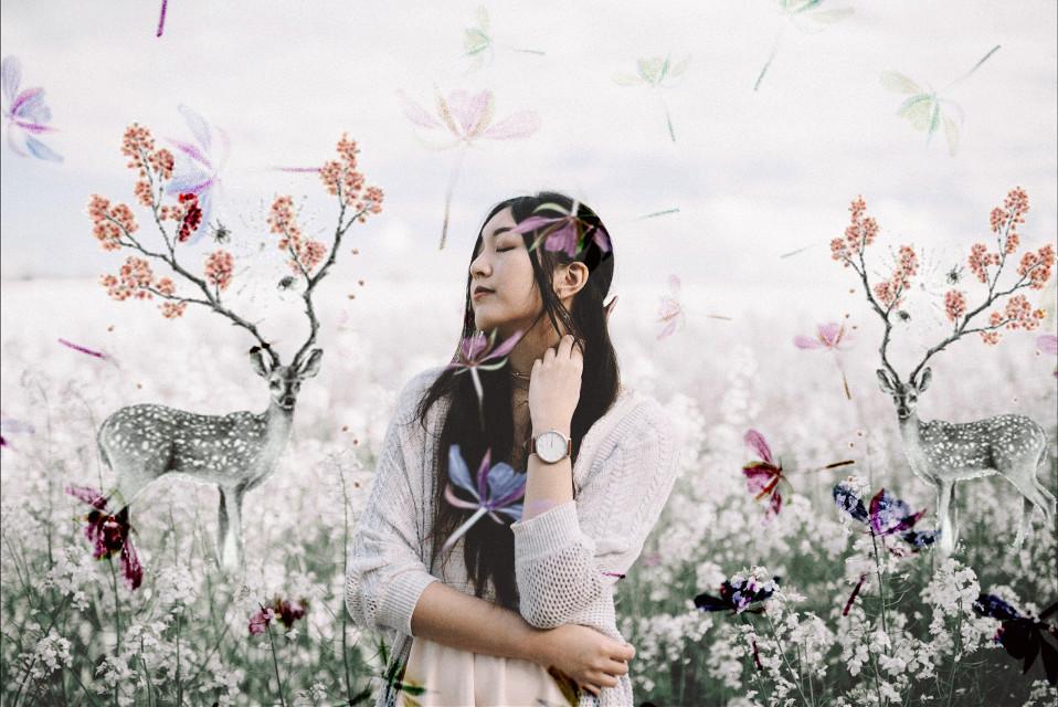 #freetoedit #flowers #deer #animals #person #girl #flowerfield #fallingflowers #madewithpicsart #stickers #seafoameffect #picsart