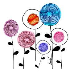 meadowdreams stylized flowers watercolorseffect wildflowers